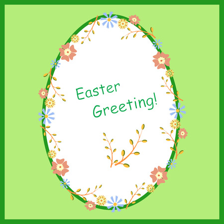 paschal: Easter card. Vector illustration with Easter greetings. Easter egg, flowers, willow. Paschal greeting. Easter background. Illustration