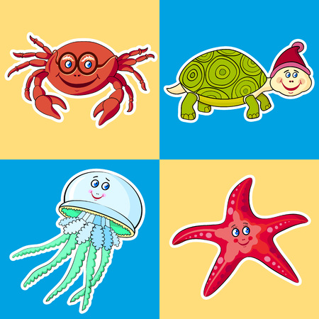 blue crab: Sea animals on a blue background. Crab,turtle, jellyfish, starfish. Labels, cards, games for kids. Illustration