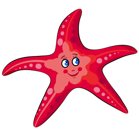 Vector illustration for children with isolated image of funny happy cartoon red starfish. Illustration