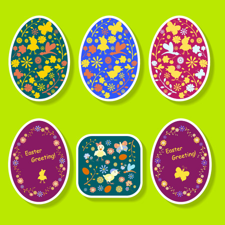 ight: A set of colored stickers for Easter eggs in bright light-green background. Easter decorations. Vector illustration on the theme of Easter. Illustration