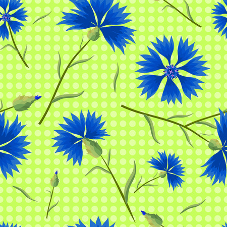 cornflowers: Blue cornflowers on a light green background with polka dots. Summer seamless pattern. Vector illustration with flowers.
