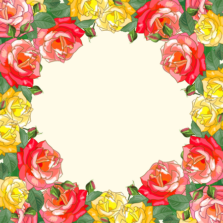 rose petals: Frame of yellow and red roses with leaves.Square template with space for text for greeting card for birthday, anniversary, wedding,mothers Day and other dates.