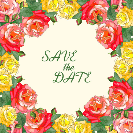 other space: Save the date.Frame of yellow and red roses with leaves. Square template with space for text for greeting card for birthday, anniversary, wedding,mothers Day and other dates.