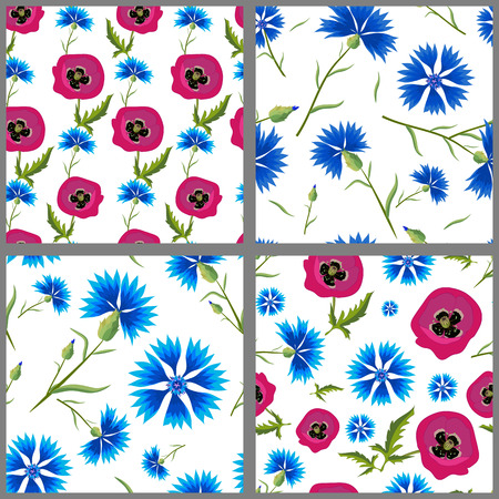 four pattern: Set of summer seamless pattern of blue corn flower Poppies . Four pattern with blue flowers on white and green background.
