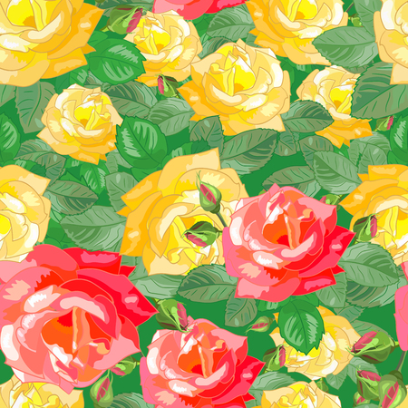 dense: Dense seamless pattern with large red and yellow roses.Floral illustration.Can be used for fabric,textile,gift wrapping paper.