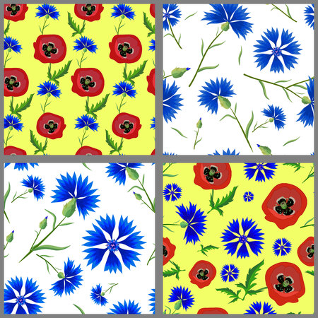 four pattern: Set of summer seamless pattern of blue cornflowers and Poppies . Four pattern with blue flowers on white and yellow background.