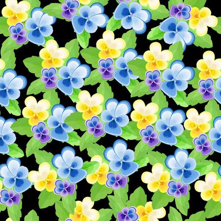 dense: Dense seamless pattern with pansies on a black background Illustration