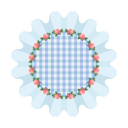 ruffles: Blue napkin with ruffles in the style of shabby chic.Plaid fabric.illustration with roses,arranged in a circle.