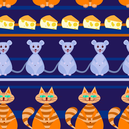cat and mouse: Dark Blue seamless pattern with Cat,mouse,hard cheese and stripes.illustration for children. Can be used for fabric,textile,wrapping paper.