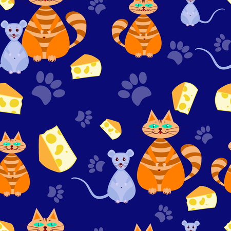 whisker characters: seamless pattern The cat dreams of mice,and she is about cheeseon a Blue background. Vector illustration for children. Can be used for fabric,textile,wrapping paper. Illustration