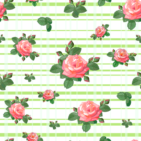 Vintage seamless pattern with red roses and leaves on light green striped background.Vector illustration in retro style.Can be used for textile,fabric,wrapping paper.