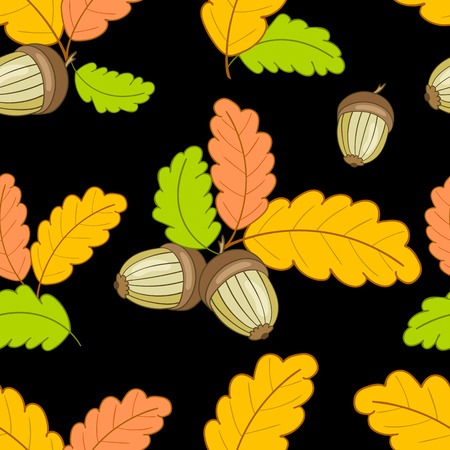 autumn seamless pattern with colorful oak leaves and acorns on a dark background.Vector illustration for web pages,cloth,textile,wrapping paper,scrapbooking,Wallpapers.