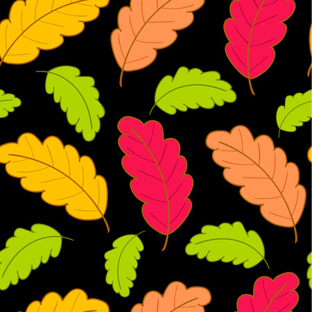 Bright autumn seamless pattern with colorful oak leaves on a black background.Vector illustration.Design for web pages,cloth,textile,wrapping paper,scrapbooking,Wallpapers.