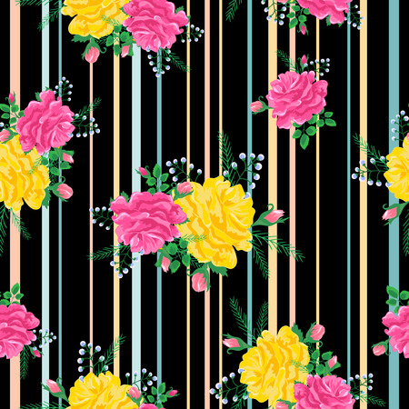 abstract colorful roses pattern. Illustration