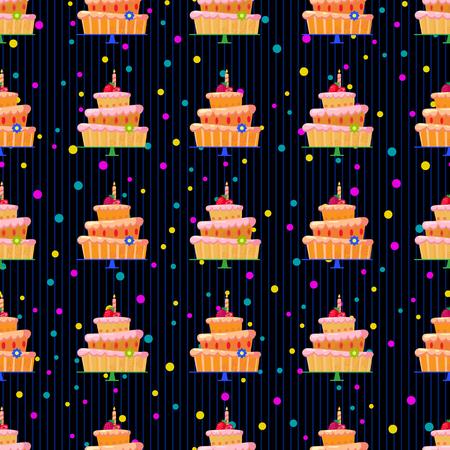 cupcake illustration: cartoon cake with strawberries pattern3-01