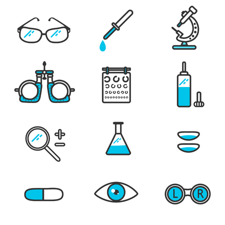 ophthalmology: ophthalmology linear icons.