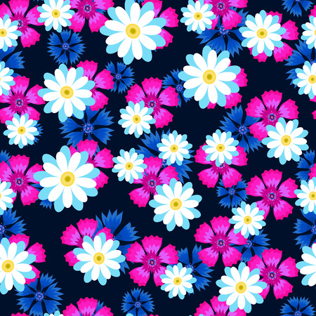 white daisies,pink carnation and blue cornflowers