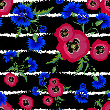 Red poppies and blue cornflowers vector illustration