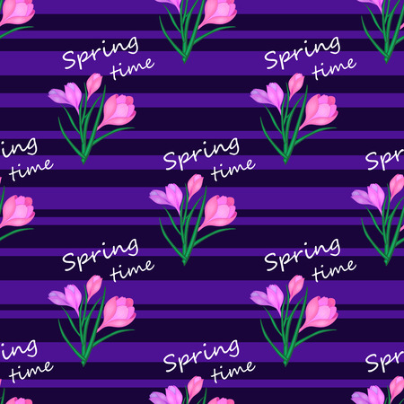 Beautiful spring seamless pattern with pink crocuses.