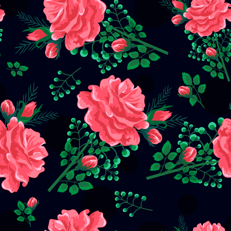 Rose seamless pattern dark.