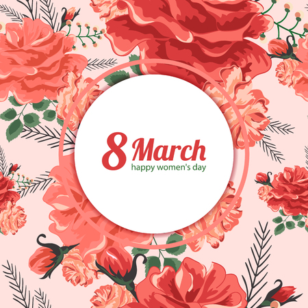 8 March.Greeting card for women s day.Vector illustration of beautiful rose on the blue background.Cute greeting card.Spring red,yellow flowers and green leaves.Greeting card for women s day. Stock Illustratie
