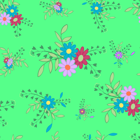 Cute colored flowers and leaves on a green background.Seamless pattern for spring and summer.Floral vector illustration.Suitable for country design for site,cards,Wallpaper,paper. Çizim