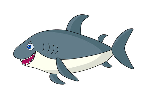 Gray cartoon shark. 矢量图像