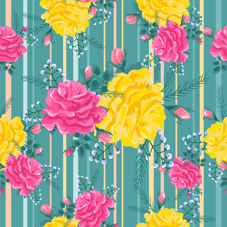pattern with pink and yellow roses on a green 向量圖像