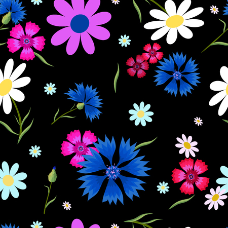 Seamless pattern with small and big white daisies,pink carnation ,blue cornflowers on a black background. Wild, flowers. Summer vector illustration.Print for fabric,textile,wrapping paper.