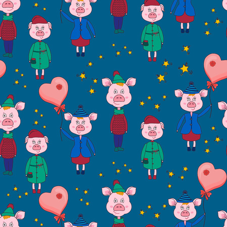 New year seamless pattern with pink pigs and stars on a blue background.Vector illustration.Print for book covers,textile,fabric,wrapping paper,scrapbooking.