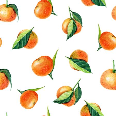Mandarini dell'acquerello con foglie. Modello senza cuciture per il design di stampa. Frutta di arancia mandarino. Archivio Fotografico