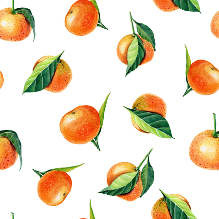 Watercolor Tangerines with leaves. Semless pattern for print design.Mandarin orange fruit. Stockfoto