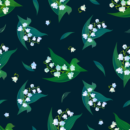 Lilly of the valley - May bells, Convallaria majalis with green leaves on a dark background.Spring flowers.Seamless pattern.Hand drawn realistic vector illustration.Print for textile,fabric, wrapping