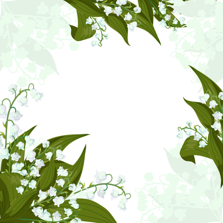 Frame.Greeting card.Lilly of the valley - May bells, Convallaria majalis with green leaves on a white background. Spring flowers bouquet.Hand drawn realistic vector illustration.