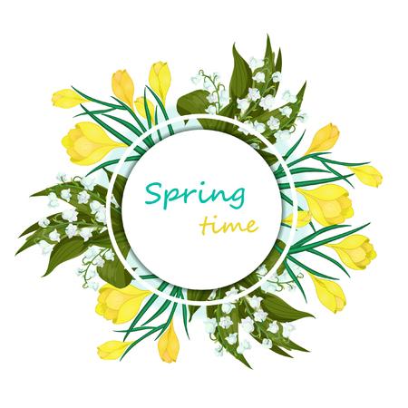 Grußkarte mit den Worten Frühlingszeit und Blumen. Handgezeichnete realistische Vektorillustration mit, Maiglöckchen - Maiglocken, Convallaria majalis, gelbe Krokusse auf weißem Hintergrund.