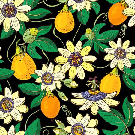 Passiflore de passiflore, fruit de la passion sur fond noir. Motif floral sans couture. Grandes fleurs exotiques lumineuses de Maracuja, bourgeon et feuille. Illustration vectorielle d'été pour textile imprimé, tissu, emballage. Vecteurs
