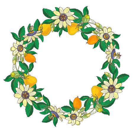 Couronne de passiflore, passiflore, orange, fruit jaune. Cadre floral sur fond blanc