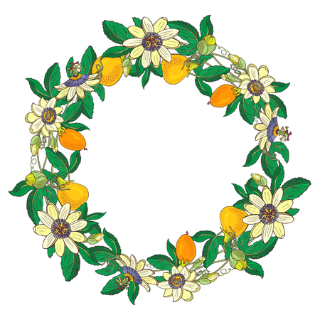 Wreath with passionflower, passiflora, orange,yellow fruit. Floral frame on white background