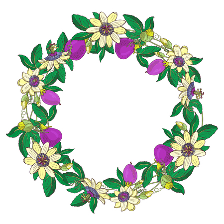 Wreath with passionflower, passiflora, violet fruit. Floral frame on white background.Design element for scrapbooking,Invitation,greeting card,book and journal, decoupage,weddingbirthday Illustration