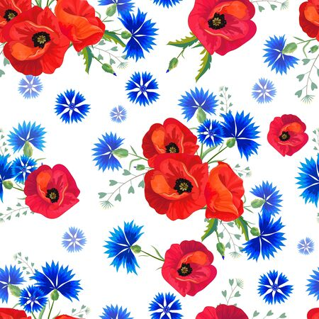Abstract Floral seamless pattern with red poppies and blue cornflowers. Standard-Bild - 134852123