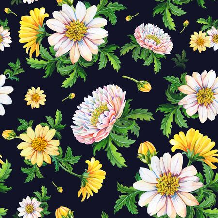 Watercolor chrysanthemums on a black background.Abstract seamless pattern of yellow flowers