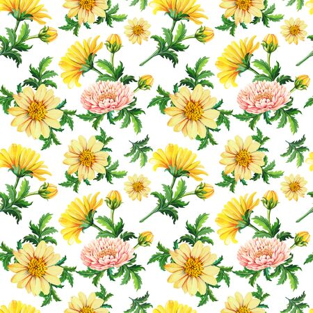 Watercolor chrysanthemums on a white background.Abstract seamless pattern of yellow flowers Reklamní fotografie - 135448626