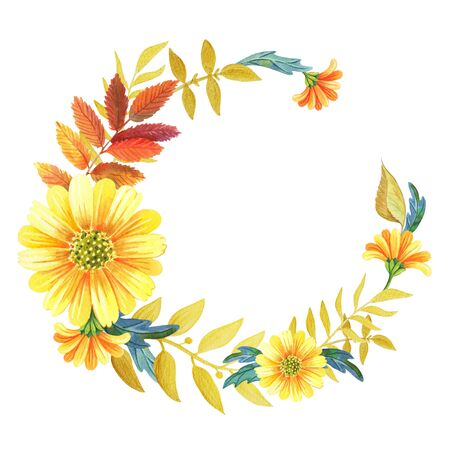 Watercolor floral wreath of yellow flowers, autumn leaves and Golden twigs.
