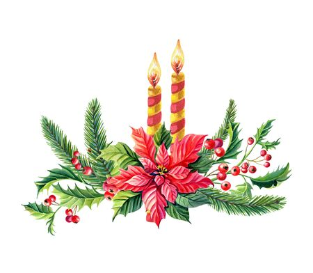 Watercolor Christmas composition with Red poinsettia flower,candle,green pine branches,Holly,leaves,berries. Winter Watercolour illustration for the New Year holiday.