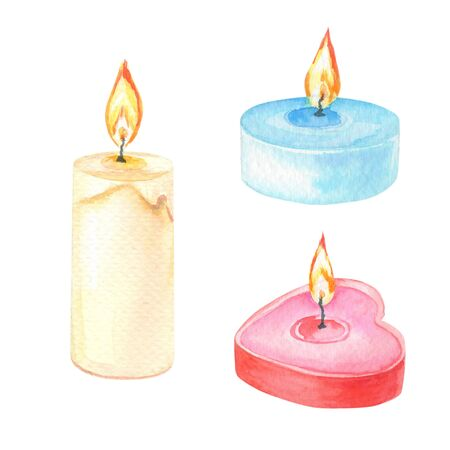 Watercolor candles on a white background.Set of watercolour elements of different colors and shapes.Red heart is a symbol of love.Illustration for Valentines Day, birthday,anniversary,other holidays.