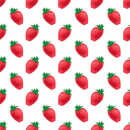 Red cuty fresh strawberry fruits on white background.Vector seamless pattern.Bright summer Vetores