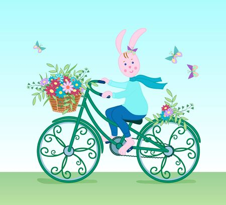 Pink Bunny in a scarf on a vintage green bike carries a basket of colorful flowers with leaves.Cartoon characterCard for spring or summer holidays.