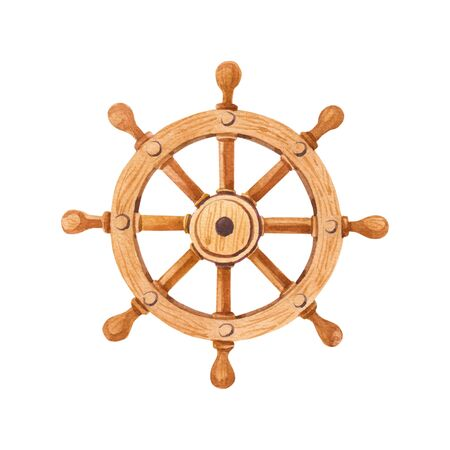 Watercolor marine steering wheel.Watercolour cartoon illustration of a wooden boat rudder wheel isolated Standard-Bild