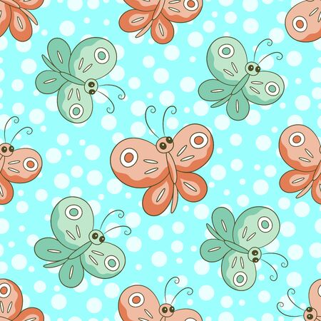 Seamless pattern with color butterflies on a light blue background.Brown, green insect.Cheerful vector