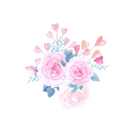 Watercolor pink roses,hearts. Watercolour Valentines day floral composition on a white background.